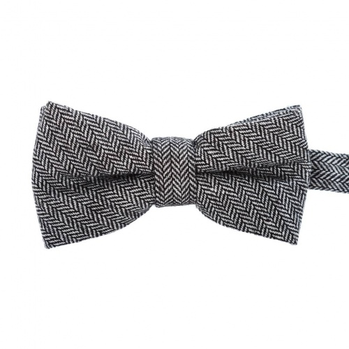 Grey Herringbone Wool Bow Tie